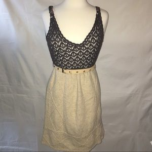 FREE PEOPLE crochet/knit brown & tan dress SIZE:S